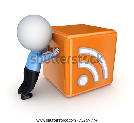 RSS sign and 3d small person.Isolated on white background.3d rendered. - stock photo