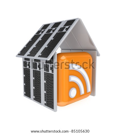 RSS sign under a roof made of PC keyboards.3d rendered.Isolated on white background. - stock photo