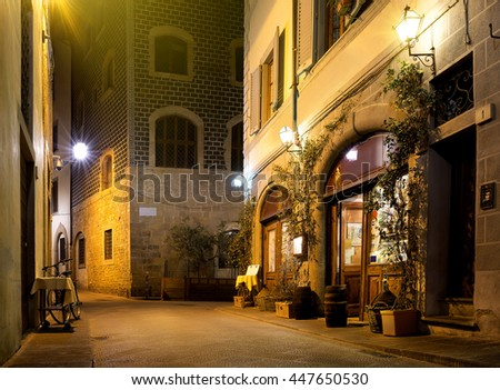 Rtaurant is in the old street of Florence, Italy