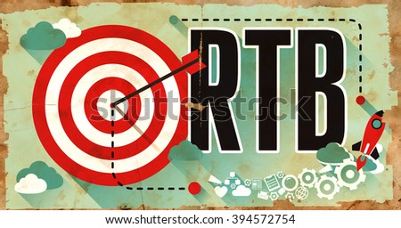 RTB - Real Time Bidding - Concept. Poster in Flat Design. Business Concept. - stock photo