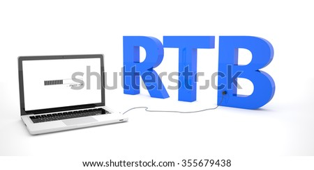 RTB - Real Time Bidding - laptop notebook computer connected to a word on white background. 3d render illustration. - stock photo
