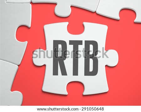 RTB - Real Time Bidding - Text on Puzzle on the Place of Missing Pieces. Scarlett Background. Close-up. 3d Illustration. - stock photo