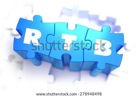 RTB  -  Real Time Bidding - White Text on Blue Puzzles and Selective Focus. 3D Render.  - stock photo