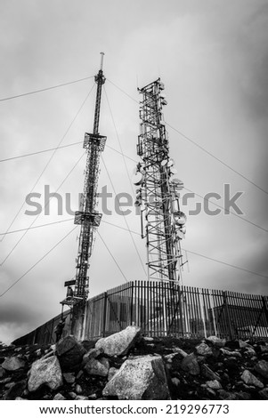 RTE antennna masts at Mt Leinster summit