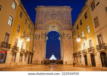 Rua Augusta Arch and street at night in Lisbon, Portugal. - stock photo