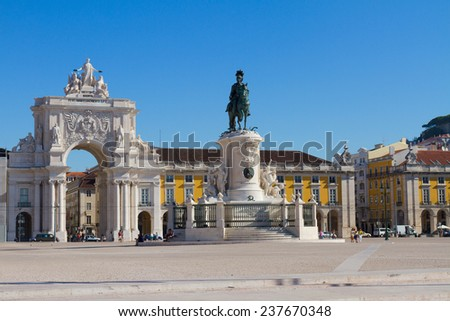 Rua Augusta Arch  on Commerce Square, Lisbon, Portugal - stock photo