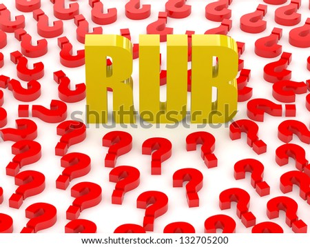 RUB sign surrounded by question marks. Concept 3D illustration. - stock photo