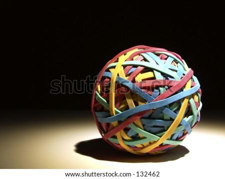 Rubber band ball - stock photo