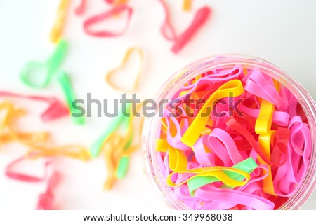 rubber band multicolor on white background