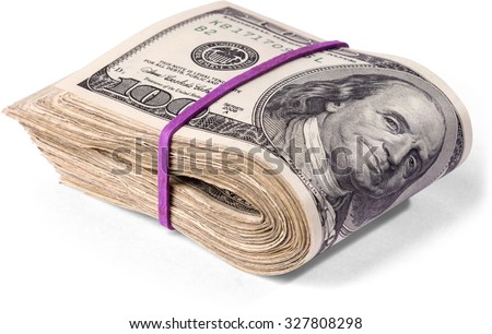 rubber banded wad of one hundred dollar bills - stock photo