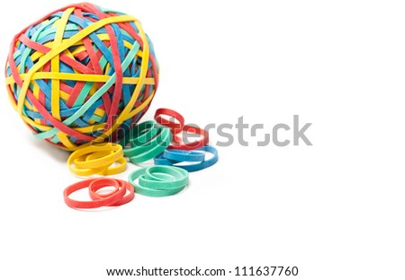 Rubber Bands and a Rubber Band Ball on White Background - stock photo