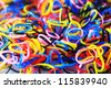 Rubber bands of many colors./Rubber bands/Thailand. - stock photo