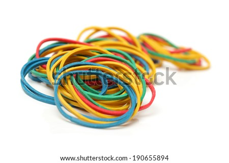 Rubber bands on white background - stock photo