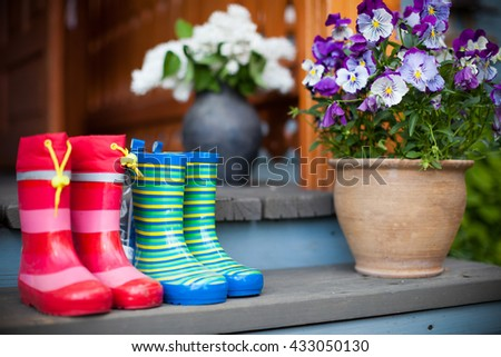 Rubber boots and flowers