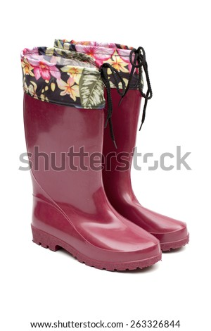 rubber boots on the white background - stock photo