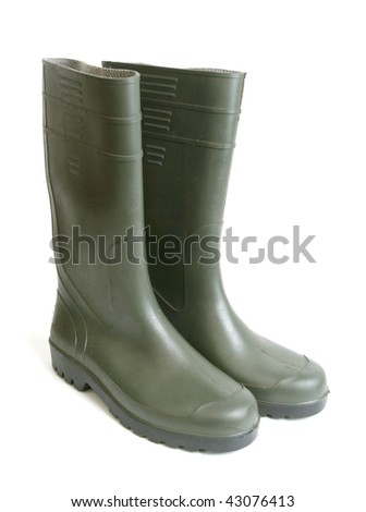 Rubber boots on white background - stock photo