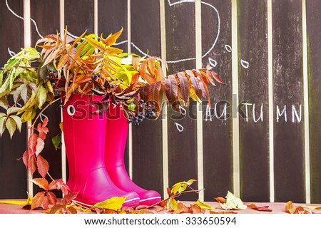 Rubber boots (rainboots) and autumnal leaves are on the wooden fence background with drawing rain drops and cloud. Autumn. Copy space for your text. Creative, activity, leisure, travel concept.  - stock photo