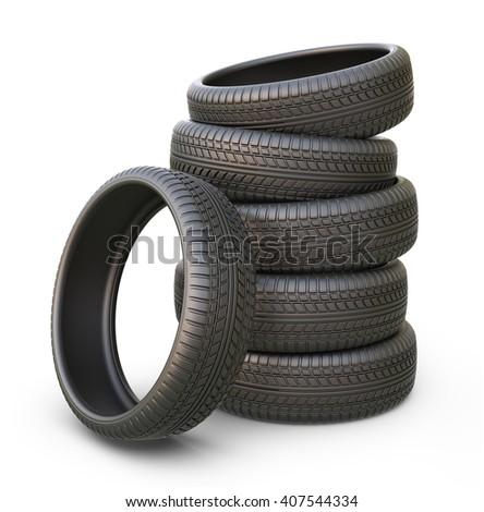 Rubber car tire or tyre. 3D icon isolated - stock photo