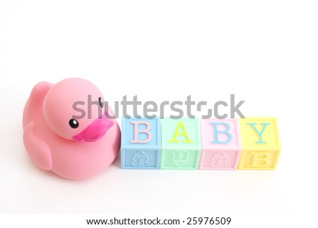 Rubber Duck With Word Baby - stock photo