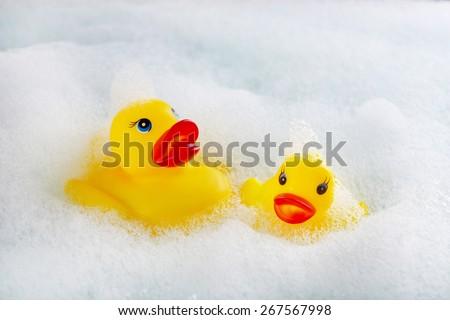 Rubber ducks in foam close-up - stock photo