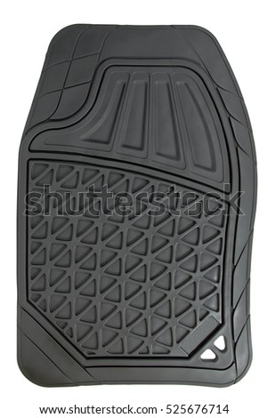 Rubber Floor Mat For Cars, Isolated On White Background