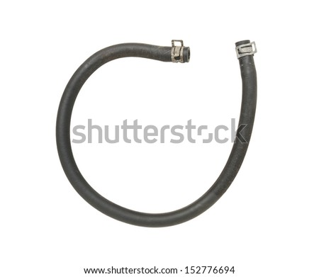 Rubber fuel hose isolated on white background - stock photo