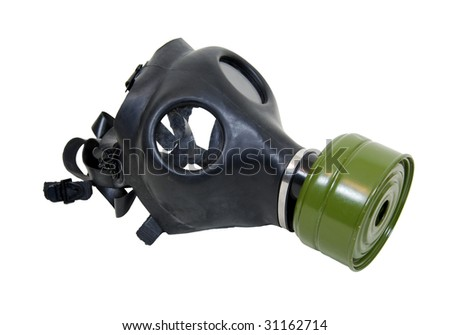 Rubber gas mask to protect the wearer from airborne pollutants and toxic gases - path included