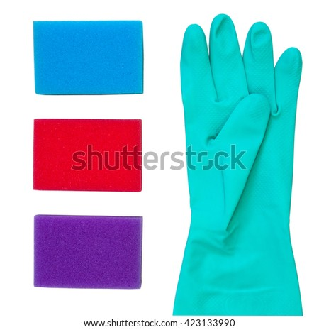 Rubber glove and color sponges for dish washing isolated on white background. Cleaning concept. - stock photo
