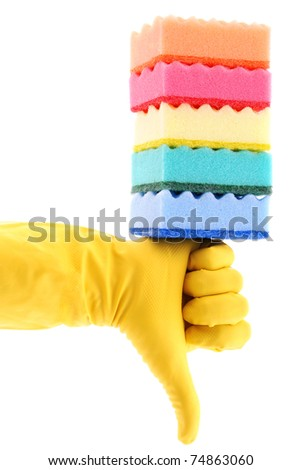 Rubber Glove and Sponges on white