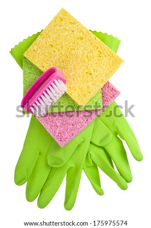 Rubber Gloves and Brightly colored sponges on White Background