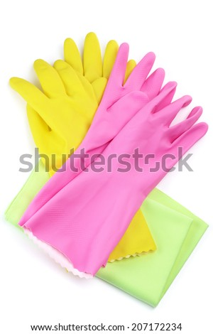 Rubber gloves and wiper isolated on white background.