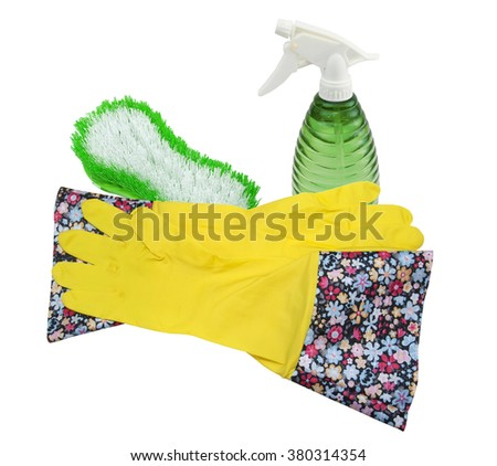Rubber gloves, Brush and Spray Bottle for cleaning