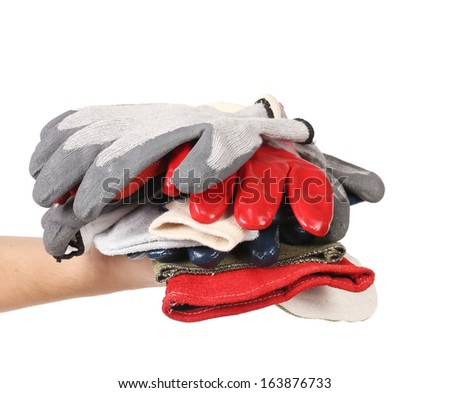 Rubber gloves on a hand. Isolated on a white background.