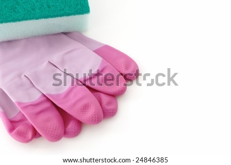 rubber gloves with sponge,isolated