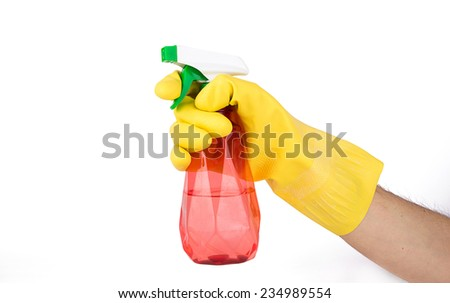 Rubber gloves with spray on a white background - stock photo
