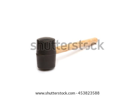 Rubber hammer. handle is made of wood. isolated on white background