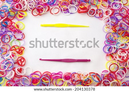 Rubber loom bands used for creating jewellery - stock photo