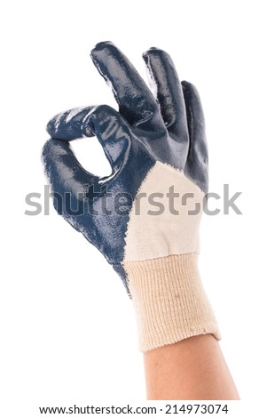 Rubber protective blue glove. Isolated on a white background. - stock photo