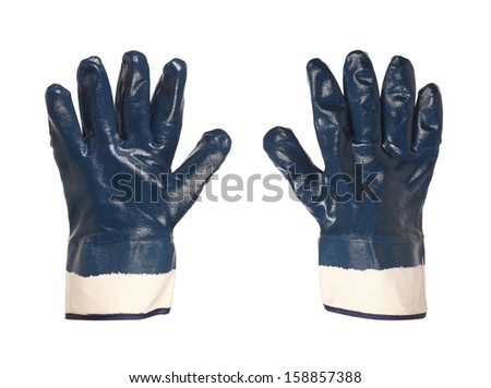 Rubber protective blue gloves on a white background - stock photo