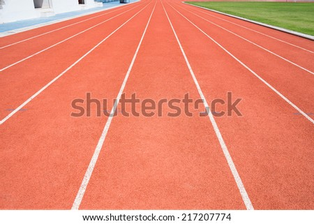 Rubber running lane for sprint or race.