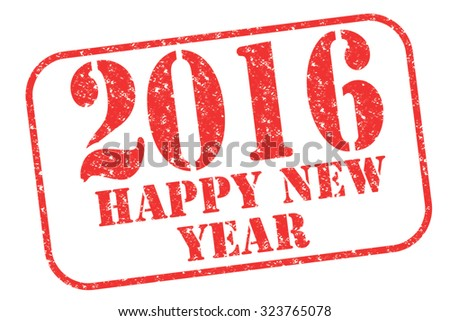 """Rubber stamp """"2016 happy new year"""" on white - stock photo"""