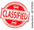 "Rubber stamp illustration showing ""CLASSIFIED"" text - stock vector"