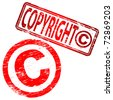 "Rubber stamp illustration showing ""COPYRIGHT"" text and symbol - stock vector"