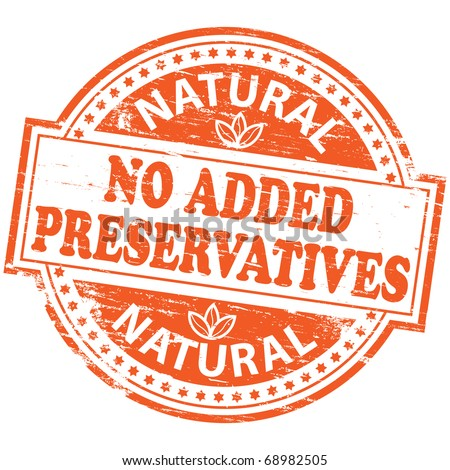 "Rubber stamp illustration showing ""NO ADDED PRESERVATIVES"" text - stock photo"