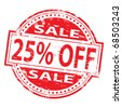 """Rubber stamp illustration showing """"25% Off"""" text - stock photo"""