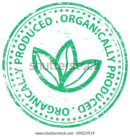 "Rubber stamp illustration showing ""ORGANICALLY PRODUCED"" text - stock photo"