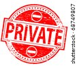 "Rubber stamp illustration showing ""PRIVATE"" text - stock vector"