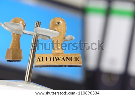 rubber stamp marked with allowance - stock photo