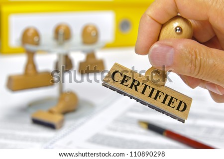 rubber stamp marked with certified - stock photo