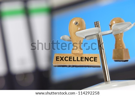 rubber stamp marked with excellence - stock photo